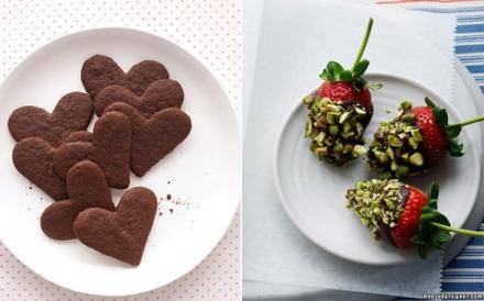 Sausainiai ir braškės šokolade