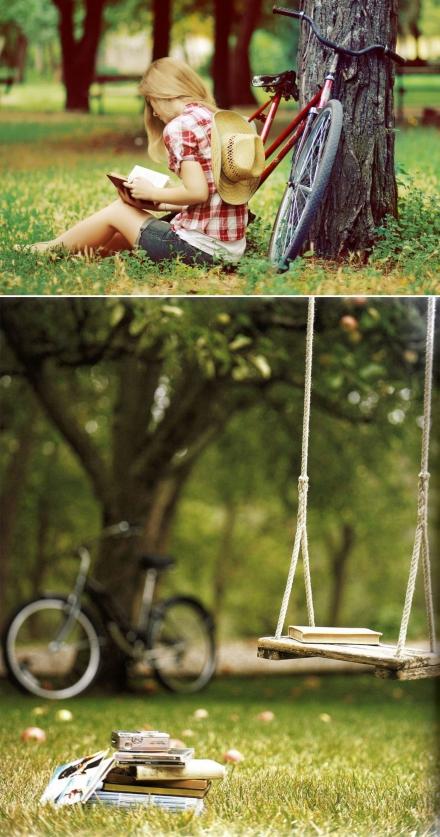 Su dviračiu ir knyga parke